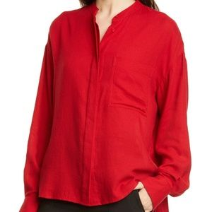 VINCE Band Collar Button Down - Cherry